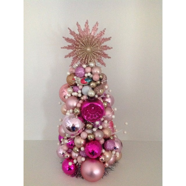 Vintage Pink Pearl Christmas Ornament Topiary Tree - Image 2 of 7