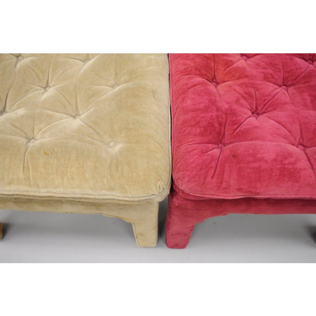 Vintage Hollywood Regency Parson Pink & Beige Stools Upholstered Bench Ottoman - a Pair - Image 4 of 11