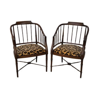 Solid Mahogany Faux Bamboo Barrel Back Arm Chairs - A Pair