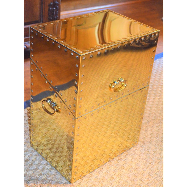 Sarreid Ltd. Studded Brass Side Table - Image 5 of 11