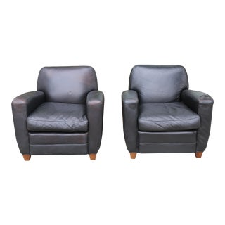 Leather Distressed Dark Brown Club Chairs