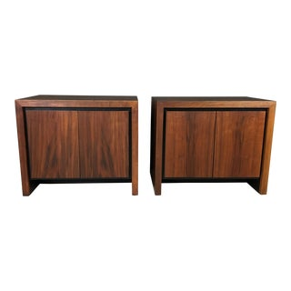 Milo Baughman for Dillingham Walnut Bedside Tables - a Pair