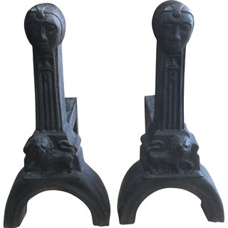 Antique French Gothic Andirons - A Pair