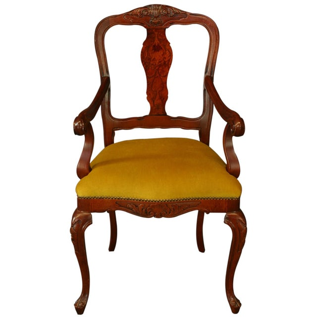 Italian rococo inlaid arm chair reproduction chairish for Rococo furniture reproductions