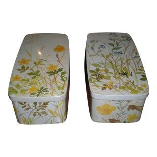 Vintage Denmark Floral Tin Boxes - A Pair
