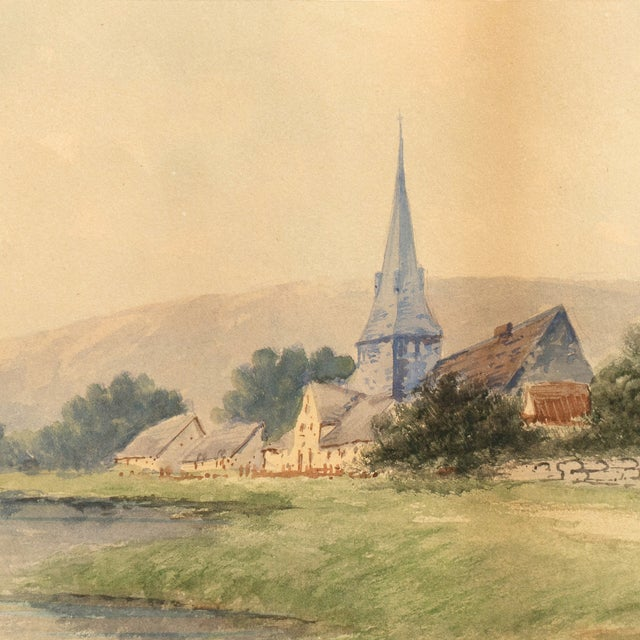 Lakeside Village Watercolor, Circa 1900 - Image 3 of 6