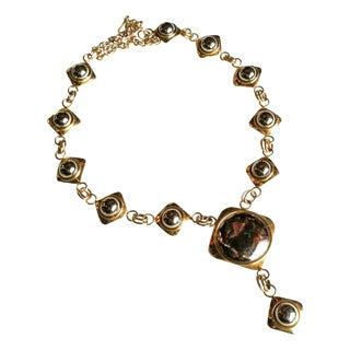 1980s Runway Silver & Gold Deco Orb Necklace