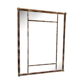 Mid-Century Distressed Wood Bamboo Mirror