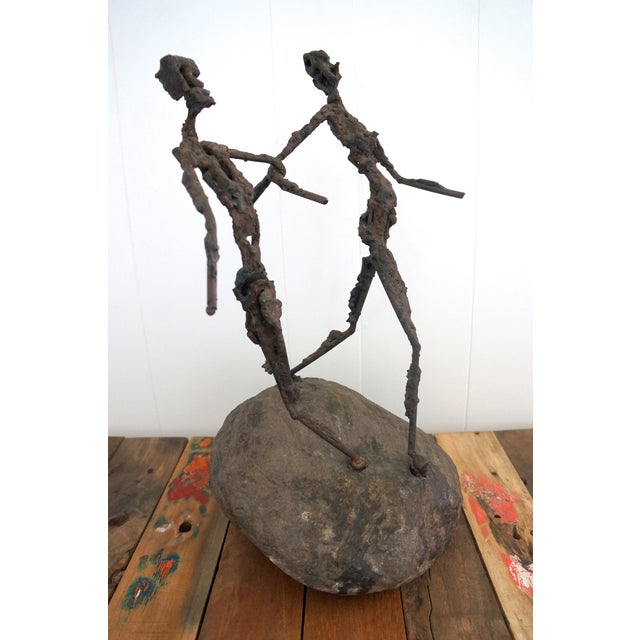 Brutalist Giacometti Metal And Stone Sculpture - Image 5 of 5