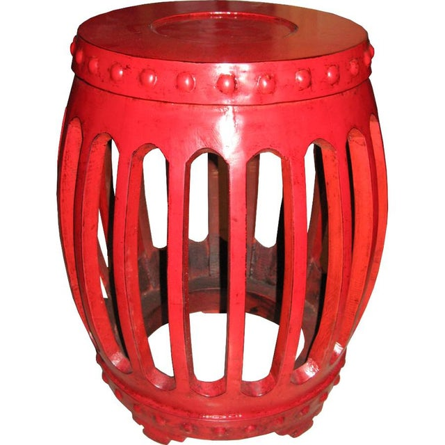 Chinese Wooden Drum Stool Chairish