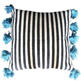 Black & White Pom-Pom Pillow Cover
