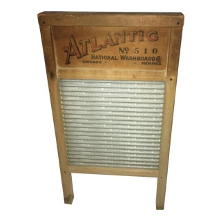 Vintage Wood & Glass Atlantic Washboard