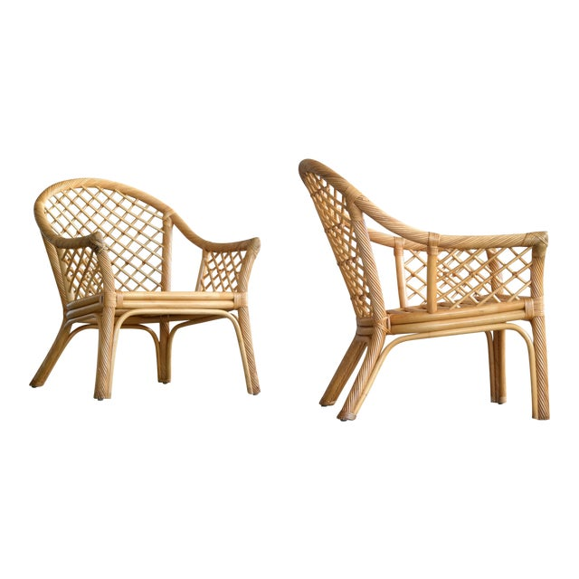 Mid Century Modern Danish Rattan Armchairs - a Pair - Image 1 of 11
