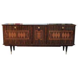 "1940s Vintage French Art Deco Exotic Macassar Ebony ""Diamond"" Inlay Sideboard or Buffet"