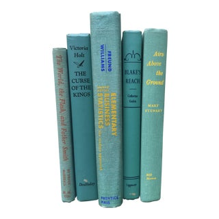Mid-Century Aqua Books - Set of 5