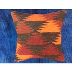 Image of Boho Chic Pillow With Turkish Kilim Fragment