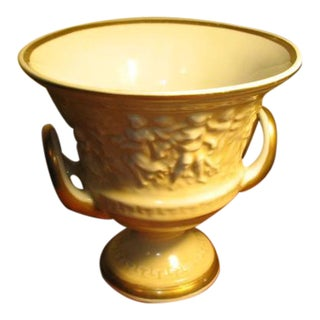 Vintage Von Schiermolz Large Urn With Gold Trim & Handles
