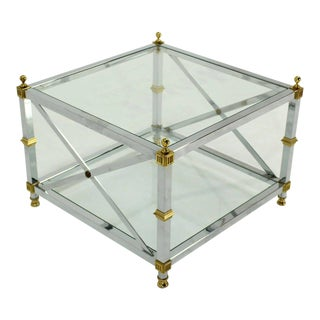 Glass Chrome Brass X Base Square Side Coffee End Table