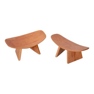 Pair of French Meditation Wood Shoggi Stool by Alain Gaubert, Beechwood, 1980s