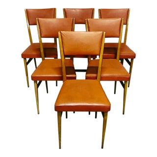 Orange Naugahyde Mid-Century Dining Chairs - Set of 6