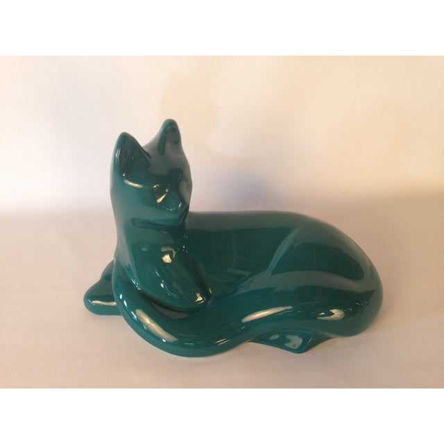Image of Hager Large Teal Cat Sculpture