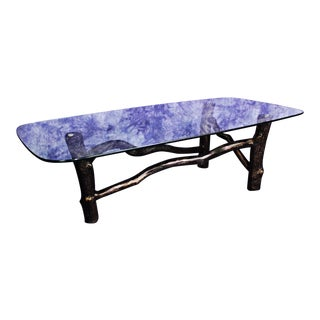Mid-Century Modern Branch Base Glass Top Cocktail Table