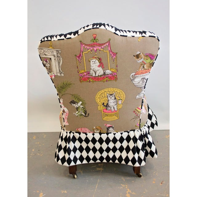 Vintage Vanity Chair with Cat Motif Fabric and Harlequin Print ...