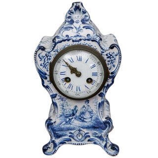 Blue and White French Shelf Clock