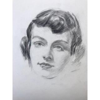 Vintage Pencil Drawing Portrait of a Woman c.1950s