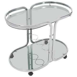 Oval Polished Chrome Bar Cart