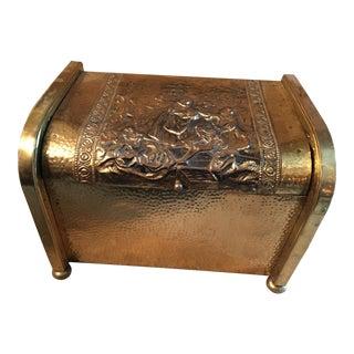 Vintage Repousse Metalwork Metal Wood Box
