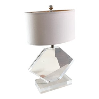 French Marlee Chunky Sculptural Lucite Lamp