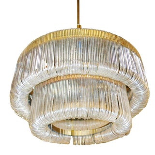 MCM Sculptural Lucite Ribbon Chandelier