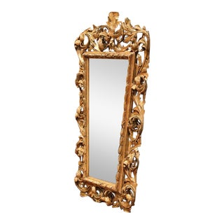 Mid-19th Century French Hand-Carved Parcel Gilt Mirror