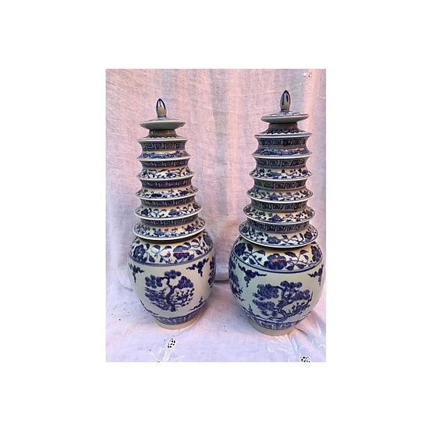 Blue & White Pagoda Ginger Jars - Pair - Image 2 of 7