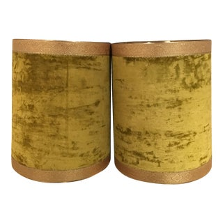 Crushed Yellow Velvet Lampshades - A Pair