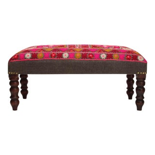 Vintage Red & Pink Embroidered Bench