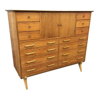 Renzo Rutili 14-Drawer Walnut & Birch Dresser