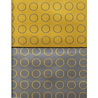 Maharam Reversible Repeat Ring Dot in Yellow & Gray - 5.375 Yards