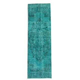Vintage Handmade Teal Aqua Turkish Runner - 2′8″ × 9′