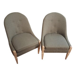 Vintage Armless Green Accent Chairs - A Pair