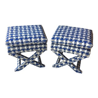 Vintage Blue Upholstered X-Benches - A Pair