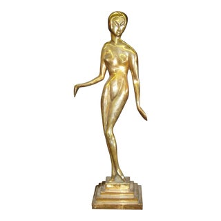 Bronze Nude Female Statue in the Style of Brancusi
