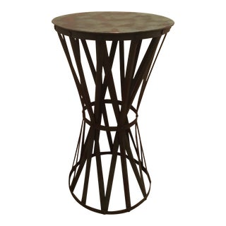 Green Iron Drum Side Table