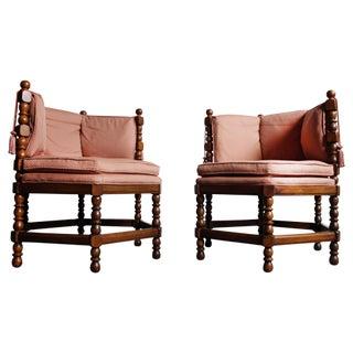 Mid-Century Hexagonal Accent Chairs - Pair
