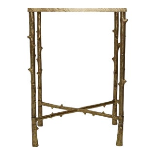 Contemporary Iron & Glass Top Square Side Table