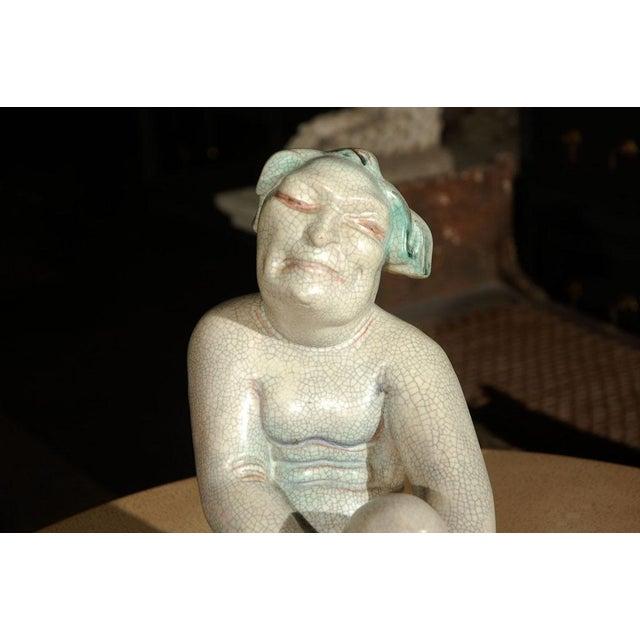 Large Crackle Glazed Buddha Figure - Image 3 of 8