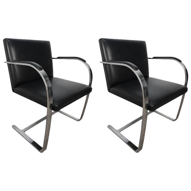 Pair of Knoll Chrome Plated Steel Brno Armchairs, With Leather Seats - Image 1 of 6