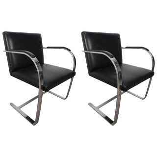 Black Leather & Chrome Brno Armchairs - a Pair