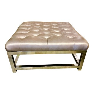 Regina Andrews Tufted Leather Ottoman